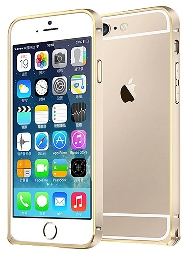 Microsonic iPhone  6 (4.7'') Ultra Thin Metal Bumper Kılıf Gold & Gold Renkli
